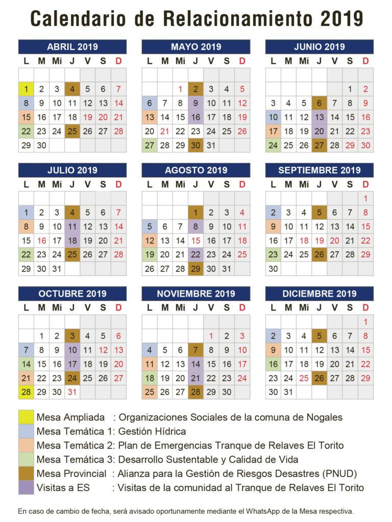 Calendario Relacionamiento Comunitario El Soldado de Anglo American